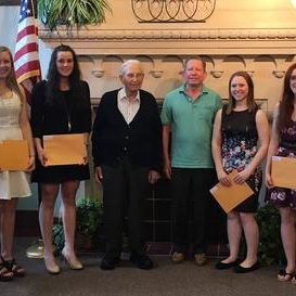 The Mother Moon Service Scholarship Reception was held on Tuesday, May 16, 2017 at Macomb City Hall.   From L-R:  Hannah Davison, Natalie Neve, John Moon (Mother Moon's son), David Moon (Mother Moon's grandson), Alexis Lawson, and Karlee Herman.  Not pictured, Emily Hance.